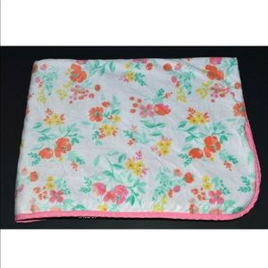 Carters Floral Flowers Roses Pink Sherpa Blanket